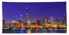 Chicago Skyline With Cubs World Series Lights Night, Lake Michigan, Chicago, Cook County, Illinois Hand Towel