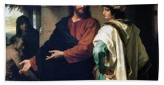 Christ And The Rich Young Ruler Hand Towel