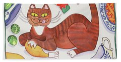 Christmas Cat And The Turkey Hand Towel
