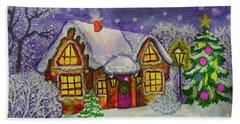 Christmas House, Painting Bath Towel