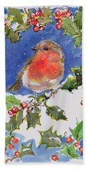 Christmas Robin Hand Towel by Diane Matthes