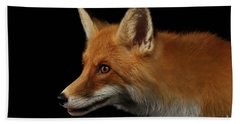 Closeup Portrait Of Red Fox In Profile Isolated On Black  Hand Towel