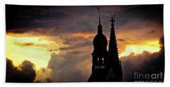Cloudscape Of Orange Sunset Old Town Riga Latvia Hand Towel