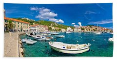 Coastal Town Of Hvar Waterfront Panorama Hand Towel