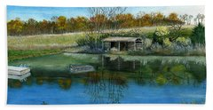 Bath Towel featuring the painting Cole Hill Pond by Melly Terpening