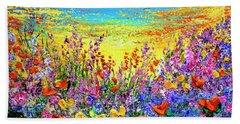 Bath Towel featuring the painting Color My World by Teresa Wegrzyn