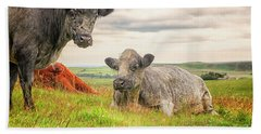 Colorful Highland Cattle Bath Towel by Patricia Hofmeester
