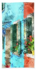 Colorful Houses In Burano Island Venice Italy Hand Towel