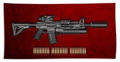 Colt  M 4 A 1  S O P M O D Carbine With 5.56 N A T O Rounds On Red Velvet  Hand Towel by Serge Averbukh