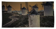 Hand Towel featuring the photograph Consuegra Windmills 2 by Heiko Koehrer-Wagner