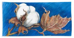 Cotton Picking Blues Bath Towel