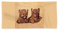Cougar Cubs Bath Towel by Ron Haist