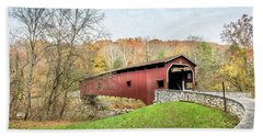 Covered Bridge In Pennsylvania During Autumn Hand Towel