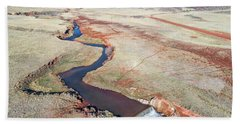 creek at  Colorado foothills - aerial view Hand Towel