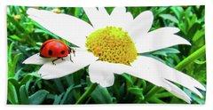 Daisy Flower And Ladybug Bath Towel