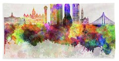 Dallas Skyline In Watercolor Background Hand Towel by Pablo Romero