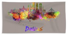 Dallas Skyline In Watercolor Hand Towel by Pablo Romero