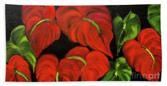 Dancing Anthuriums Bath Towel by Jenny Lee