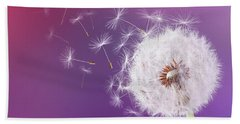 Dandelion Flying On Magenta Background Bath Towel