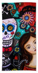 Hand Towel featuring the painting Day Of The Dead by Pristine Cartera Turkus