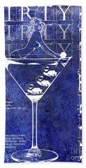 Dirty Dirty Martini Patent Blue Hand Towel by Jon Neidert