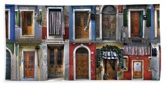 doors and windows of Burano - Venice Bath Towel