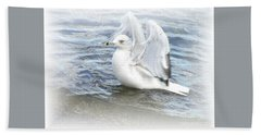 Hand Towel featuring the photograph Dreamy Seagull by Susan Dimitrakopoulos