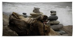 Driftwood Cairns Hand Towel by Kimberly Mackowski