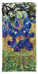 Bath Towel featuring the painting Early Bloomers by Hailey E Herrera