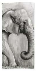 Elephant Watercolor Hand Towel by Olga Shvartsur