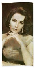 Elizabeth Taylor, Vintage Hollywood Legend By Mary Bassett Hand Towel