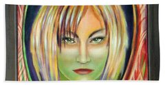 Hand Towel featuring the painting Emerald Girl by Sylvia Kula
