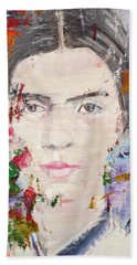 Hand Towel featuring the painting Emily Dickinson - Oil Portrait by Fabrizio Cassetta