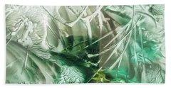Encaustic Abstract Green Foliage Bath Towel