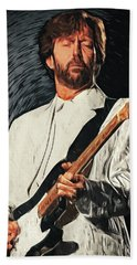 Eric Clapton Bath Towel by Taylan Apukovska