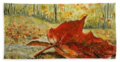 Fallen Leaf  Hand Towel by Betty-Anne McDonald
