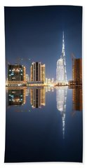 Fascinating Reflection Of Tallest Skyscrapers In Business Bay District During Calm Night. Dubai, United Arab Emirates. Bath Towel
