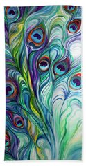 Feathers Peacock Abstract Bath Towel