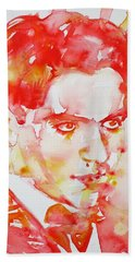 Hand Towel featuring the painting Federico Garcia Lorca - Watercolor Portrait by Fabrizio Cassetta