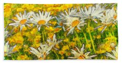Field Of Daisies Hand Towel by Claire Bull