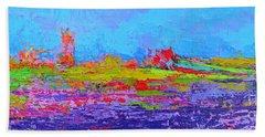 Field Of Flowers Modern Abstract Landscape Painting - Palette Knife Work Bath Towel