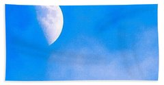 Finally Some #bluesky And The #moon Bath Towel by Austin Tuxedo Cat