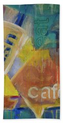 Bath Towel featuring the painting Fish Cafe by Susan Stone