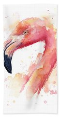 Flamingo Watercolor  Bath Towel