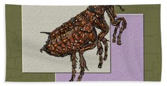 Flea On Abstract Beige Lavender And Dark Khaki Hand Towel