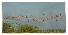 Flock Of Flamingoes Bath Towel