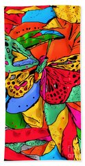 Hand Towel featuring the digital art Fly My Butterfly By Nico Bielow by Nico Bielow