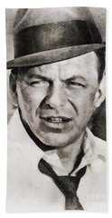 Frank Sinatra, Hollywood Legend By John Springfield Hand Towel by John Springfield