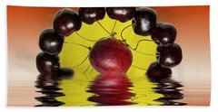 Fresh Cherries And Plums Hand Towel by David French