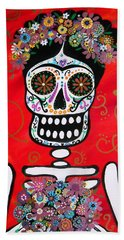 Frida Dia De Los Muertos Bath Towel by Pristine Cartera Turkus